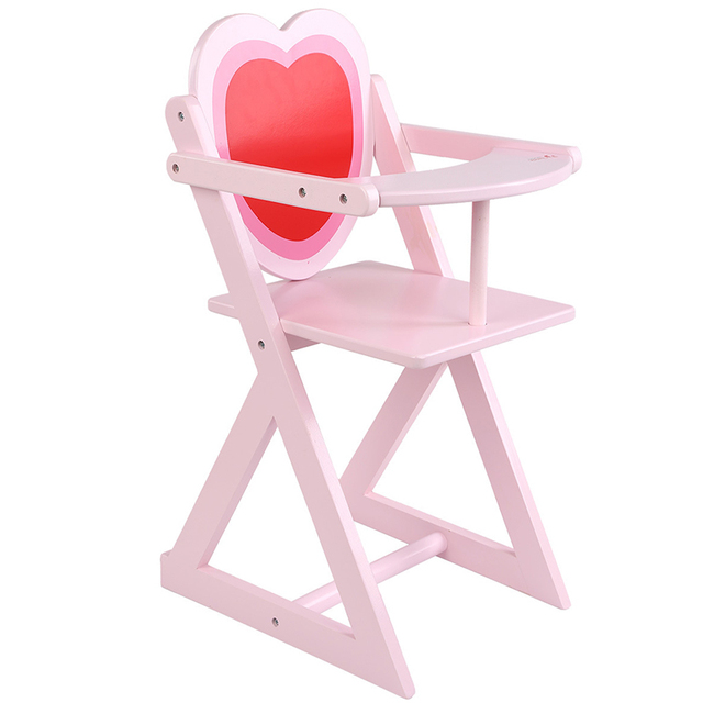 Wooden Infant Multifunction Pink Heart Shaped High Chair Children  Educational Play House Game Dining Chair