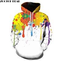 Zootop 곰 스플래쉬 페인트 후드 남성/여성 후드 후드 캡 3d 스웨터 인쇄 페인트 후드 운동복
