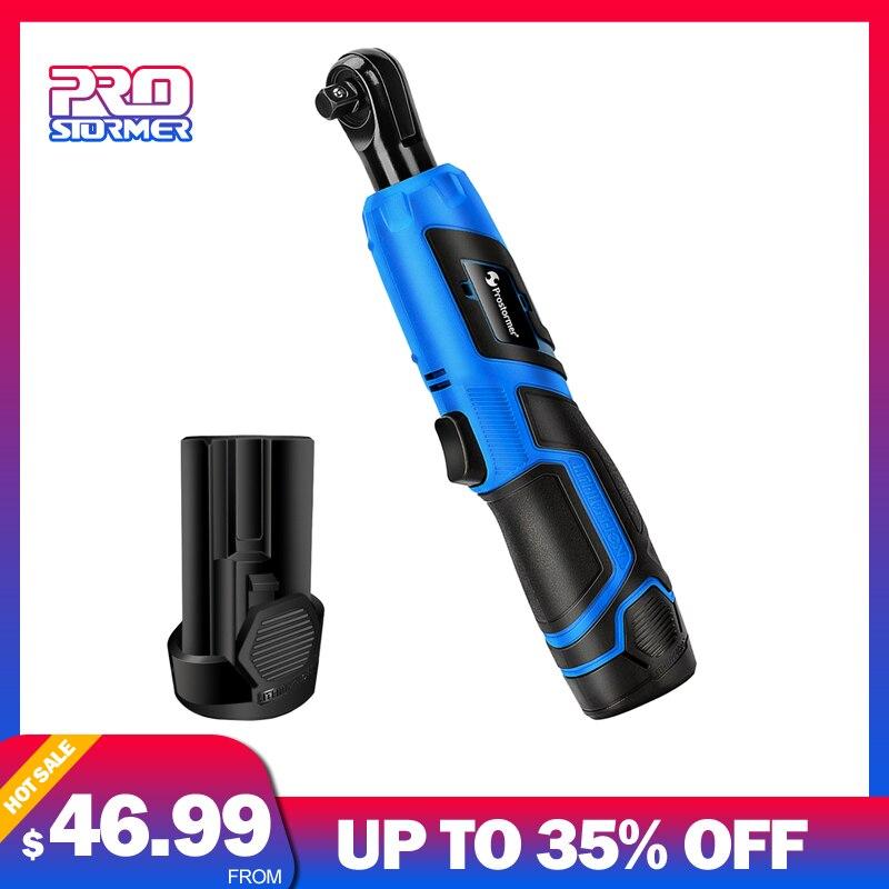 Prostormer 12 v bateria De Lítio Recarregável chave de catraca Chave Elétrica Portátil 90 grau chave de Ferramenta de Poder Carregador Rápido