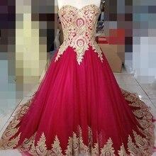 c991947b1 BRITNRY Real fotos rojo vestido de boda cordón del oro del amor Tulle  vestido de bola Simple Tribunal tren vestidos de novia