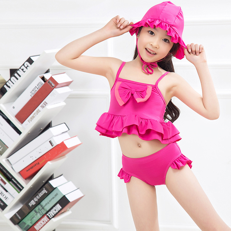New 2018 Two-Pieces Grils Swimwear With Swim Cap Solid Cute Children Girls Summer Swimsuit Beachwear Swimming Clothing