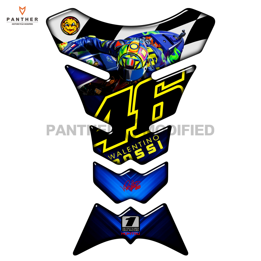 3D Motorcycle Fuel Tank Pad Protector 46 Rossi Sticker Case for Honda Suzuki GSXR Kawasaki NINJA 650 ER-6N ER-6F Z900 Stickers universal motorcycle m8 1 25 cnc aluminum clutch cable wire adjuster for ktm 350 400xcf w honda kawasaki ninja 300 abs er 6f