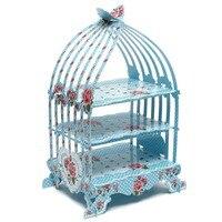 Birdcage Cupcake Cardboard Cake Stand Vintage Wedding Tea Party Display Holder Blue