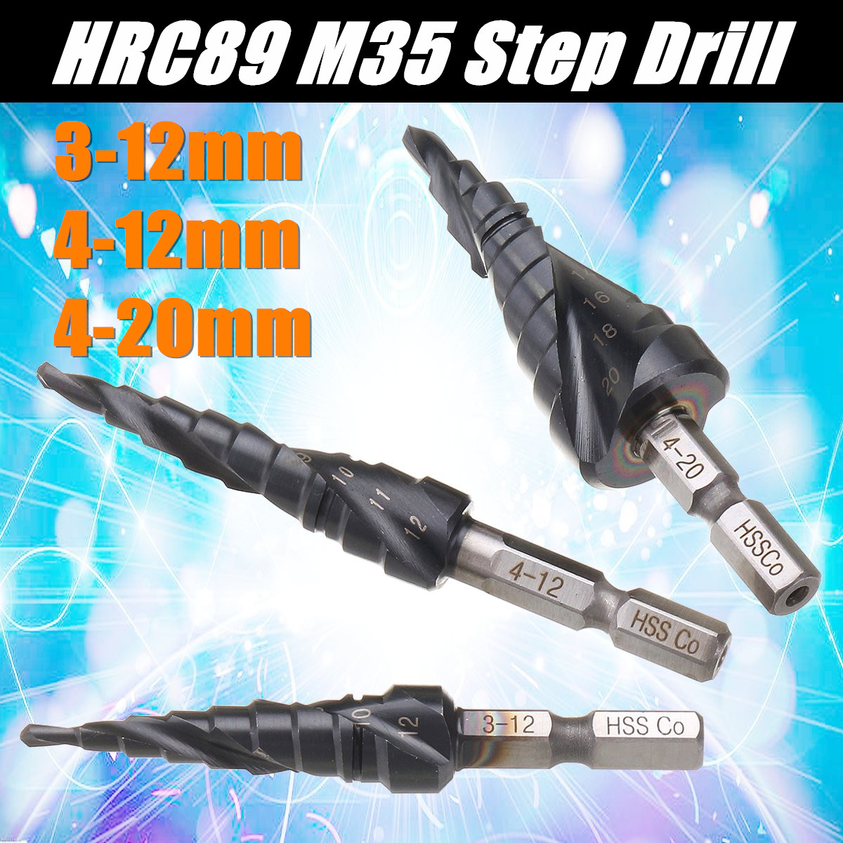 Drillpro HRC89 HSS-Co M35 Cobalt Step Drill Bit 3-12/4-12/4-20mm TiAlN Coated Step Drill 1/4 Inch Hex Shank Woodworking Bits