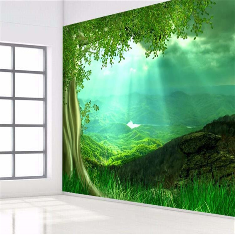 beibehang photo wallpaper 3d wall paper HD Sunshine trees grass green living room bedroom large wall mural painting book knowledge power channel creative 3d large mural wallpaper 3d bedroom living room tv backdrop painting wallpaper