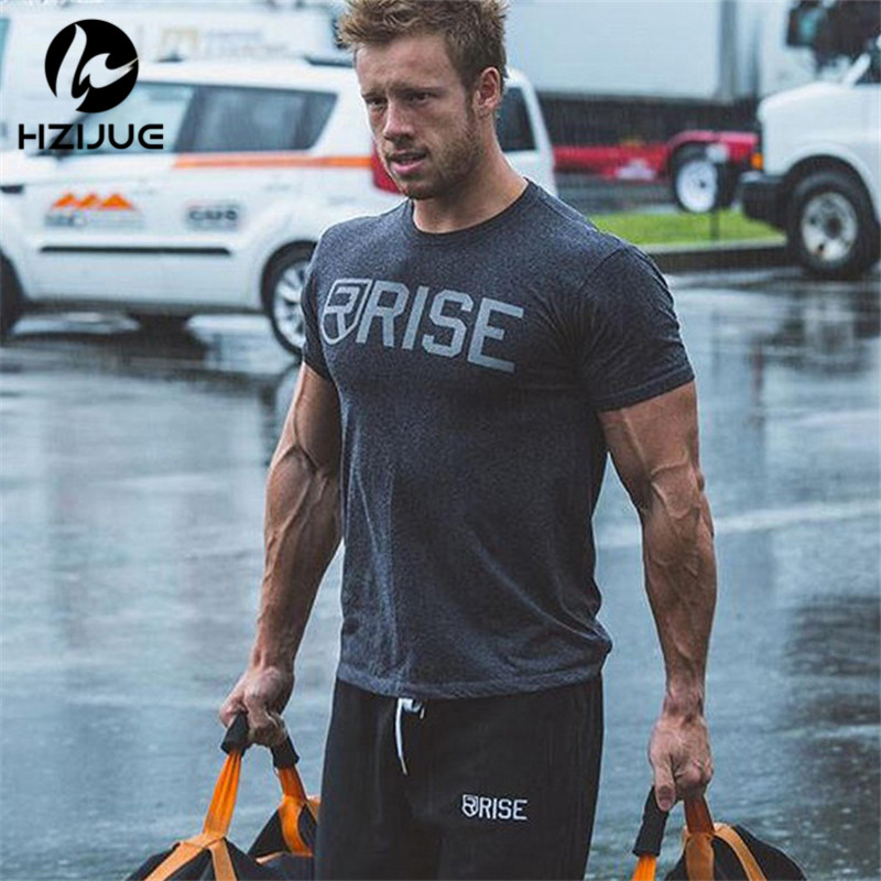 2018 New Brand Clothing Gyms Tight t-shirt Mens Fitness T-shirt Homme Gyms T shirt Men Fitness Crossfit Summer Tee Top 4 color