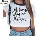 Impresa letra T-shirt Ropa de Mujer de Marca de Manga Corta Camiseta Femenina Del O-cuello de la Manera Camiseta de Algodón Top Tees Envío Gratis