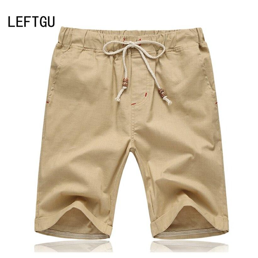 2018 Summer Mens Shorts Drawstring beading cotton knee length Casual shorts men plus size khaki army green white orange SHP665