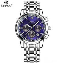 LIANDU Men's Fashion Casual Wristwatch Luxury Men Business Top Brand Silver Steel Quartz-Watch Chronograph Luminous Date Clock liandu fashion men s luxury chronograph luminous black quartz watch simulated stainless steel mesh with watch