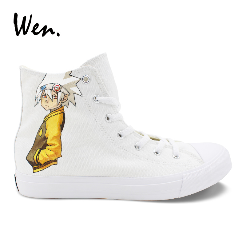 Wen Design Anime Hand Painted Shoes Soul Eater Death the Kid Canvas Shoes Boys Girls Vulcanize Sneakers High Top White Plimsolls shoes and more сандалии