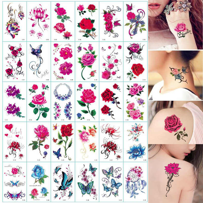 30Sheet Flower Body Art Temporary Tattoos Butterfly Floral Reindeer Letter Fake Tattoos Back Tattoos Stickers for Women Girls