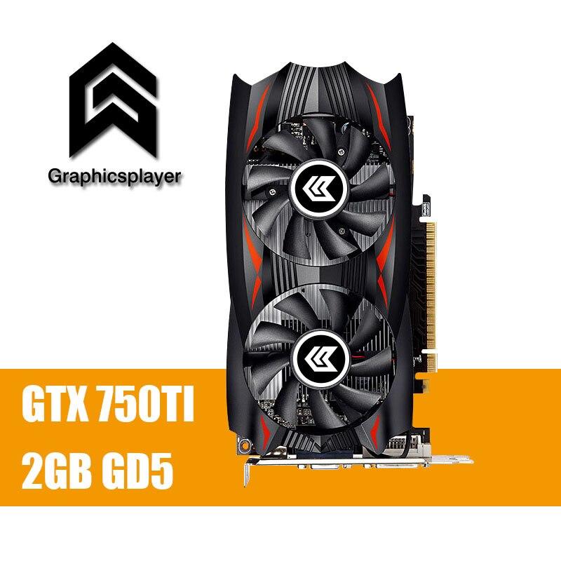 Оригинальный Графика карты gtx 750TI 2048 МБ/2 ГБ 128bit GDDR5 пласа-де-video Carte graphique видео карты для NVIDIA GeForce PC VGA