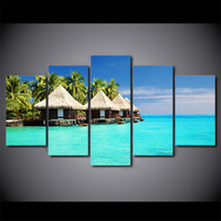 5 Piece HD Printed Maldives Islands Palm Tree Framed Wall Picture Art Poster Painting On Canvas For Kids Living Room Decor