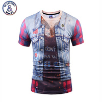 2017 Summer Fashion 3D Fake Two Piece T Shirt Print Tattoo Hip Hop Men T Shirt