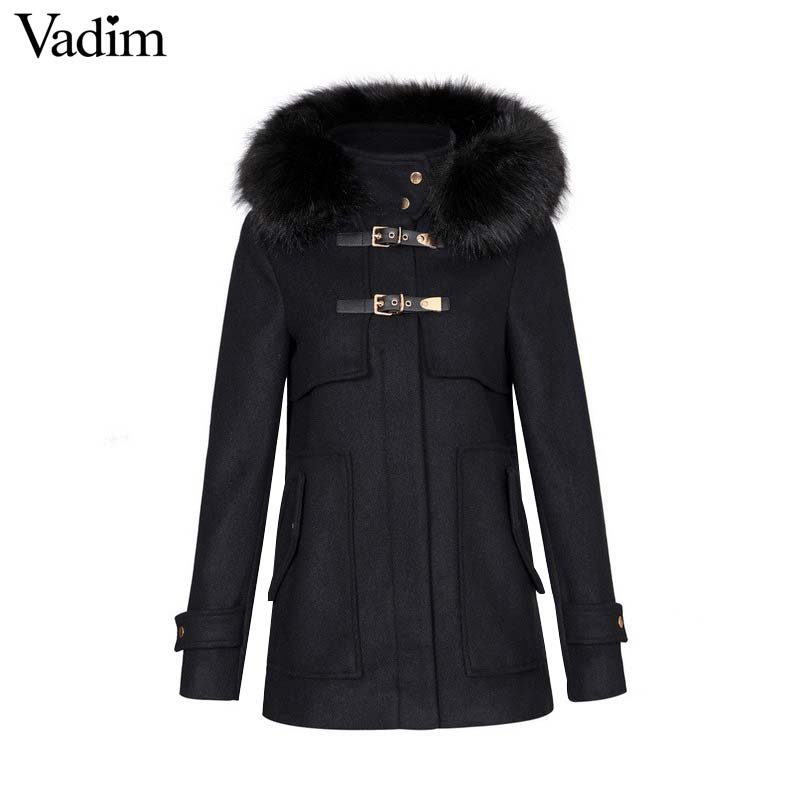 Vadim women winter warm long woolen coat thick black faux fur hooded buckle outerwear long sleeve
