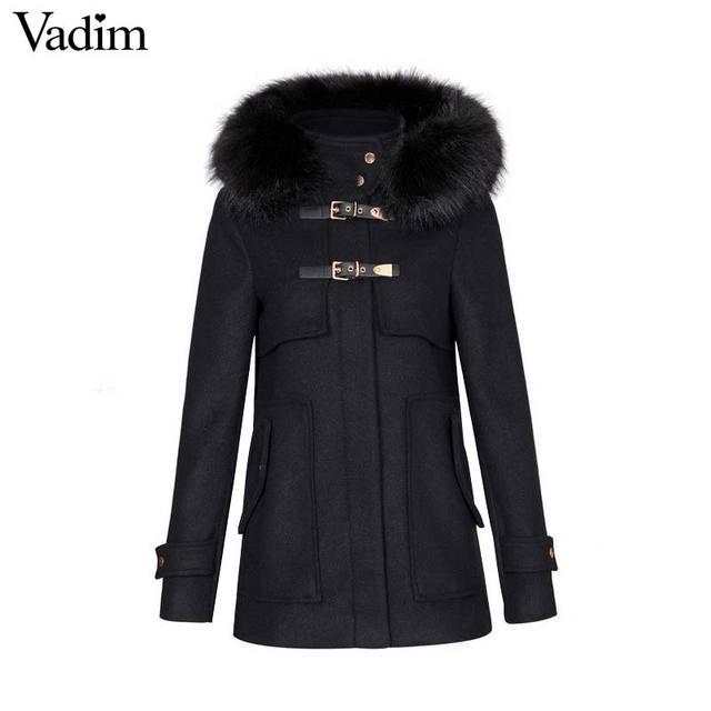 79f670b847435c Vadim delle donne di inverno caldo lungo cappotto di lana di spessore nero  in pelliccia sintetica