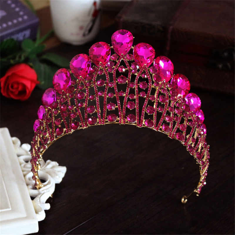Conception femme cristal grande couronne diadème mariage cheveux accessoires mariée déclaration bal roi rond élégant reine Pageant cheveux bijoux