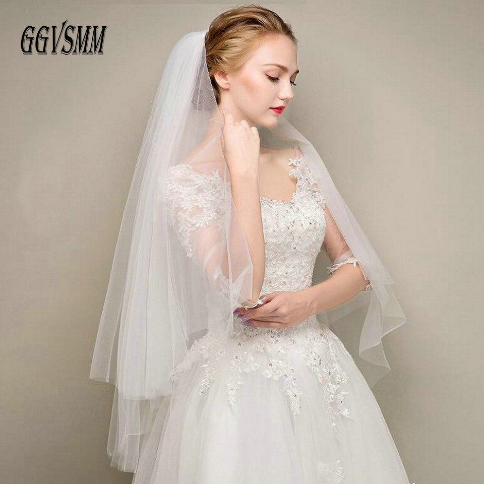 Simple Two Layers Short Tulle White Wedding Veils Cheap 2019 Ivory Bridal Veil for Bride for Mariage Wedding Accessories Comb(China)