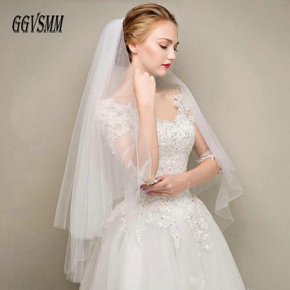 Simple deux couches courte Tulle blanc voiles de Mariage pas cher 2019 ivoire voile de mariée pour mariée pour Mariage accessoires de Mariage peigne