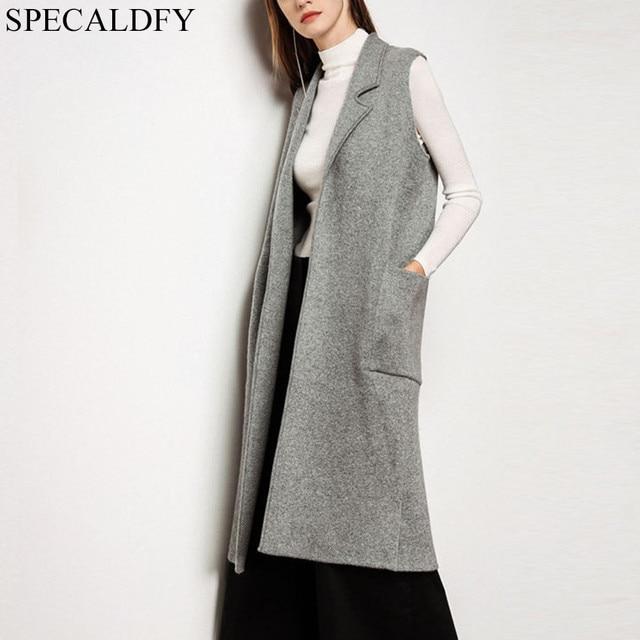 2018 Plus Size Long Vest Coat Women Sleeveless Jacket Autumn Winter Casual  Coats Outwear Ladies Knitted 16c3f0b19a98