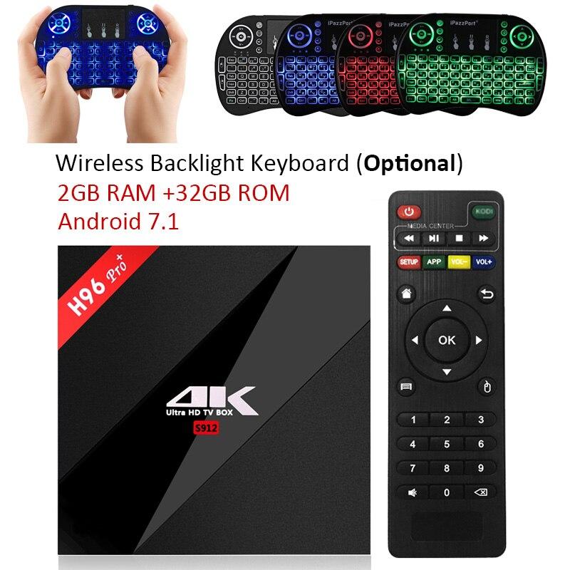 H96 PRO + TV caja amlogic s912 3 GB 32 GB octa Core Android 7.1 os BT 4.1 2.4 GHz 5.0 GHz WiFi Mini PC Media Player Smart Set Top Box