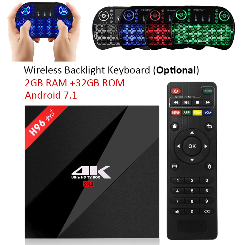 H96 Pro + TV caja Amlogic S912 3 GB 32 GB Octa Core Android 7,1 OS BT 4,1 2,4 GHz 5,0 GHz WiFi Mini PC Media Player Smart Set Top Box