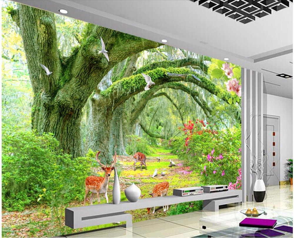 Custom photo 3d room wallpaper Trees grassland landscape TV background wall Home decor 3d wall murals wallpaper for wall 3 d custom mural 3d room wallpaper landscape sports car scenery wall papers home decor 3d wall murals wallpaper for walls 3 d