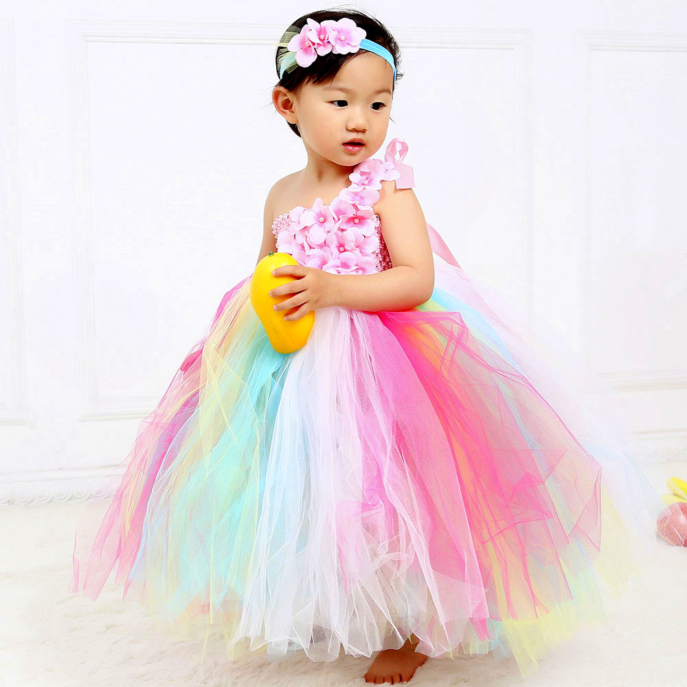 Rainbow Flower Girl Tulle Tutu Dress One Shoulder Kids Wedding Party Special Occasions Tutu Dresses for Pageant Birthday Photos rainbow flower girl tutu dress for
