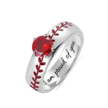 AILIN Personalized Engraving Ring Baseball Sports Gifts for Man Boys School Graduation Birthstone Selectable