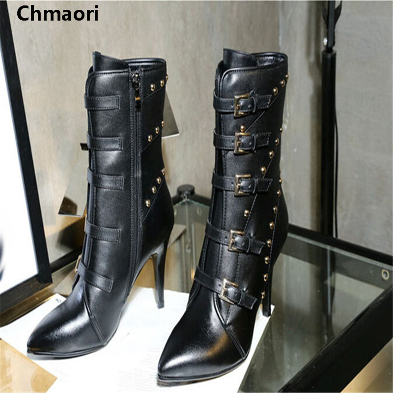 Spring Autumn sexy women Ankle Boots Pointed Toe high heels boots Leather Metal Rivets Tassel short botas Women Party Shoes arrylinfashion british fashion all match ankle boots top leather autumn botas femininas pointed toe charming thin high heels