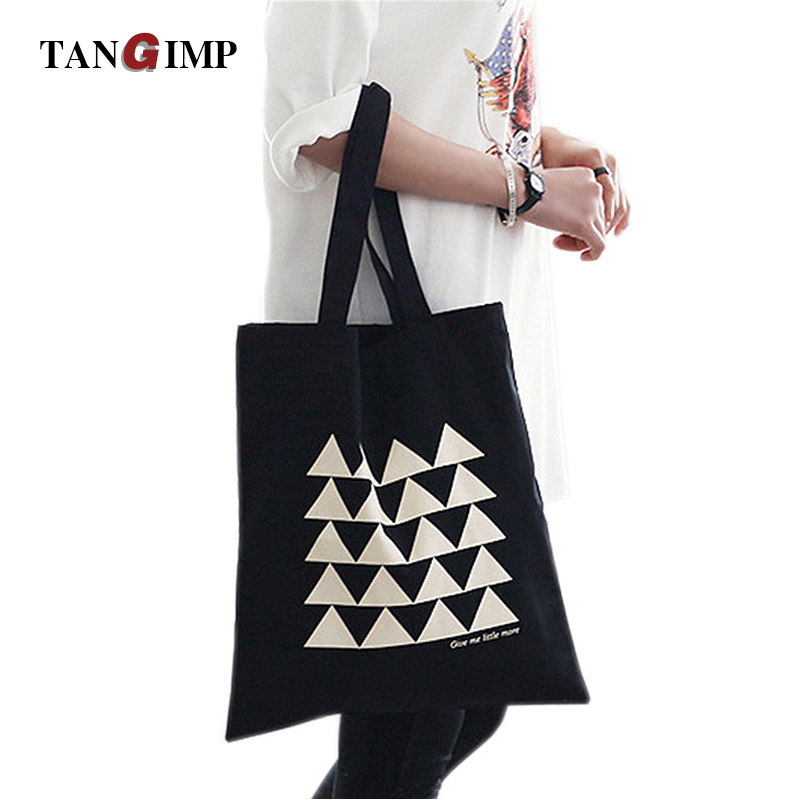 TANGIMP Black Canvas Handbags White Geometry Eco Cotton Tote Reusable Shoulder Bag Shopping Tote 37*40cm School Bag Bookbags reusable cotton linen eco friendly shopping bag grocery tote shoulder handbag