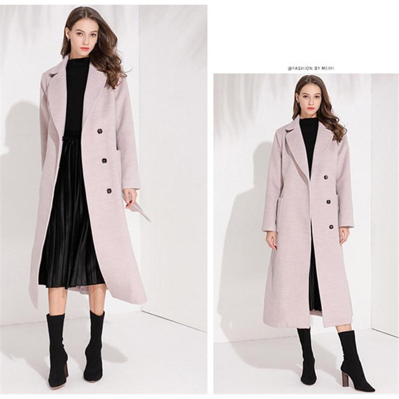 Rose Long D'hiver Style Vintage Laine Manteau 2018 De Coréenne Mode Hiver Élégant Femmes Ax1g7
