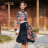 VOA Heavy Silk Midi Dresses Women Elegant Vintage Chinese Style Fall Long Sleeve Printed Shirt Dress Office Work Basic A7501
