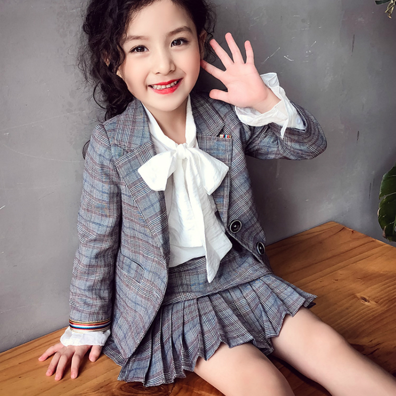 2 PCS Baby Girls Clothes Set Plaid Blazer Jacket Pleated Skirt Outfit School Clothing Suit|Clothing Sets| |  - title=