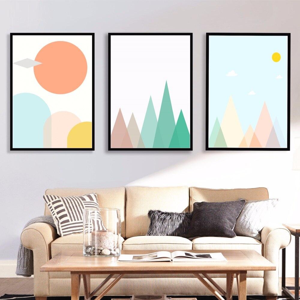 Nursery Mountain Artwork Canvas Art Print Painting Poster Wall ...