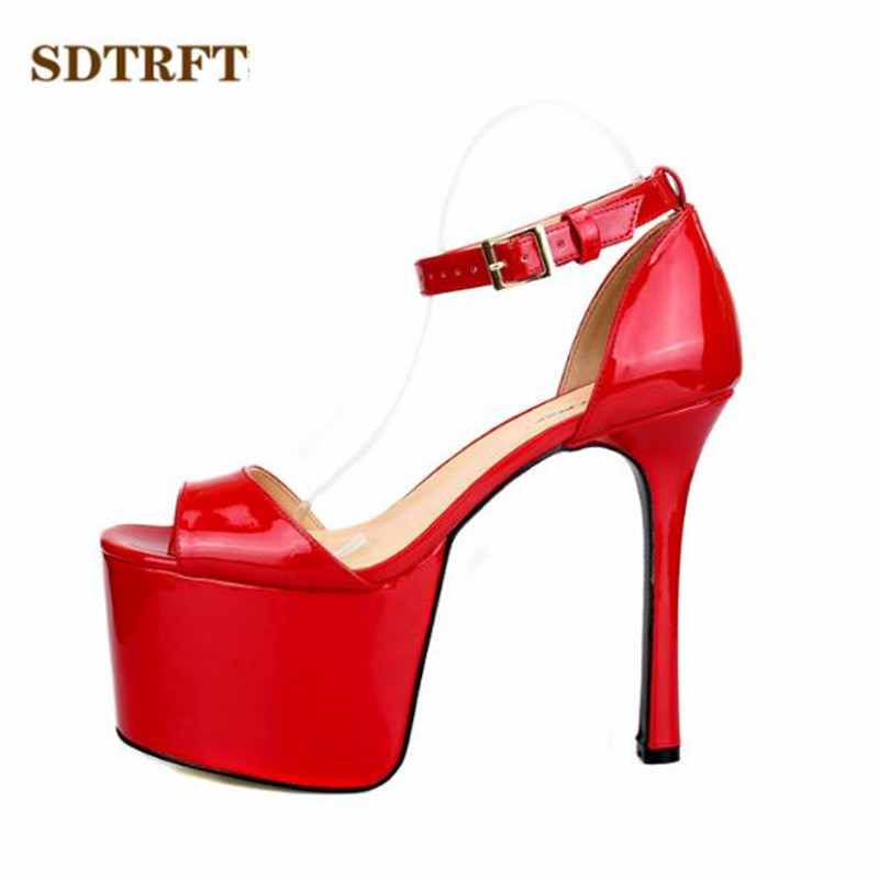 SDTRFT Plus Size:40-45 46 47 48 Crossdresser Buckle Sandals Summer 16cm thin High Heels Shoes woman Open Toe pumps high heel sandals women high heels slippers peep toe pumps summer shoes woman sandals plus size 34 40 41 42 43 44 45 46 47 48