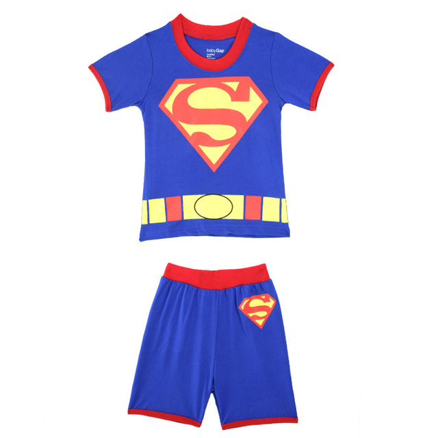33f2ecbda Boys Superman Pajamas Children Cartoon Pyjamas Short Sleeve Pijamas ...