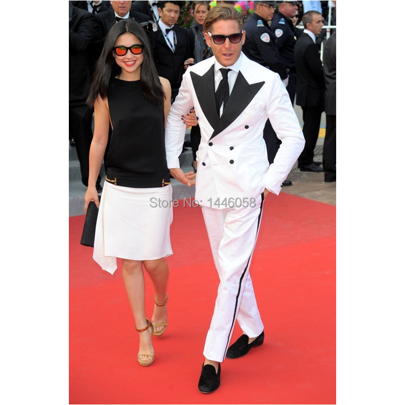 2018 New Style White Double Breasted Men Suit Wedding Slim Fit 2 Piece Tuxedo Custom Groom Suits Prom Blazer Terno Masuclino