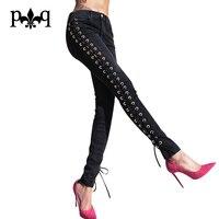 Sexy Spodnie Kobiety Skinny Casual Party Streetwear 2017 New Fashion Lace Up Długie Spodnie Dla Kobiet Czarny Biały Klub Wear spodnie