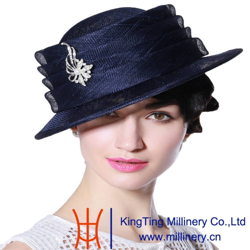 2f1dcf5773d3a June s Young Sinamay Hats for Women 100% Sinamay Navy Blue Color Short Brim  Elegant Lady Noble Luxury Elegant Female Fedoras-in Fedoras from Apparel ...