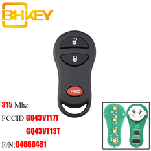 BHKEY 3Buttons Remote Car key Fob 315Mhz For DODGE Caravan Ram Dakota Durango Chrysler Town & Country GQ43VT17T 04686481