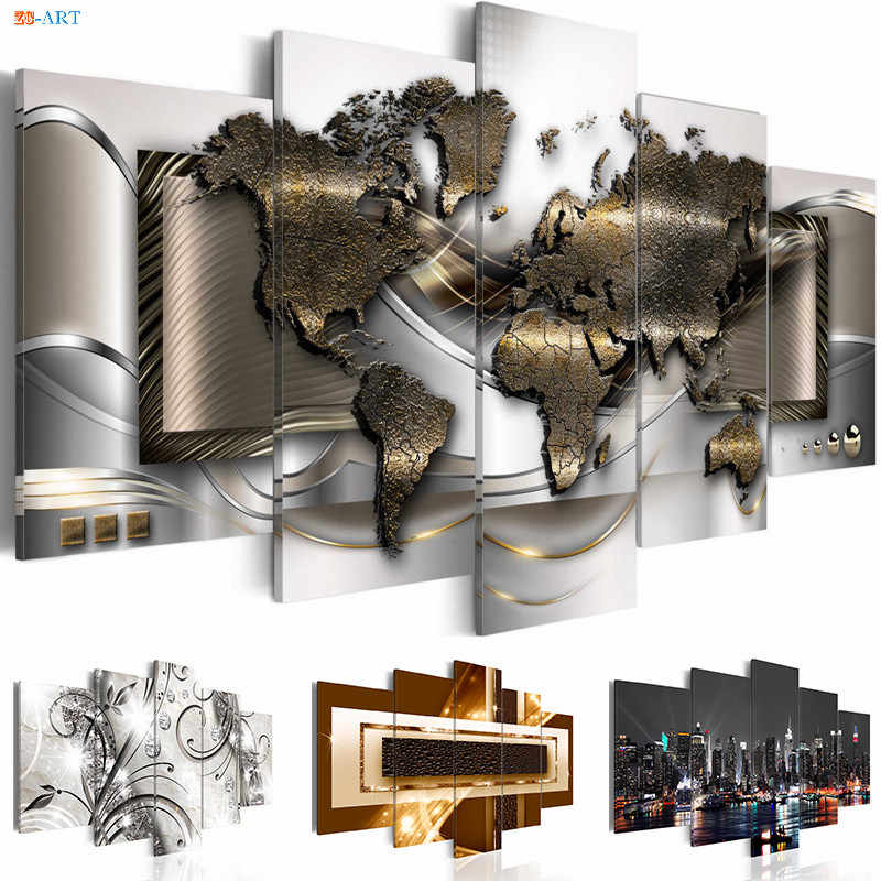 No Frame Modular Pictures Diamond Painting 5 Pieces Canvas Art World Map Posters and Prints Modern Wall Art Decoration Picture