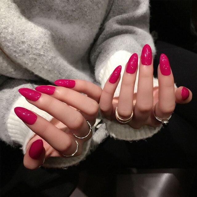 24 pcs/ensemble Printemps Long Faux Ongles Rose Rouge Jolie Femmes Nail Art  Conception Complet