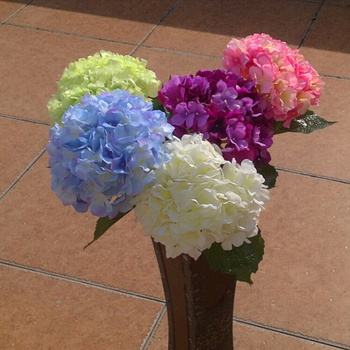 "Artificial Hydrangea Flower 80cm/31.5"" Fake Silk Single Hydrangeas 6 Colors for Wedding Centerpieces Home Party Decorations"