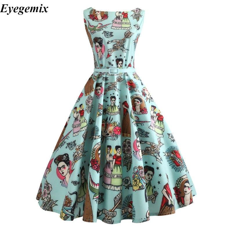 Opera kwiatowy Print kobiety letnia sukienka Hepburn 50 s 60 s Retro sukienka swing w stylu vintage-line Party sukienki z paskiem Jurken Plus rozmiar