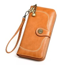 KANDRA Fashion Women Leather Designer Wallet Vintage Flower Button Waxy Wristlet Card Holder Long Clutch Phone Pocket Coin Purse kandra fashion plain pu leather heart charms women wallet long clutch card holder coin purse vegan zippered wallet 2019