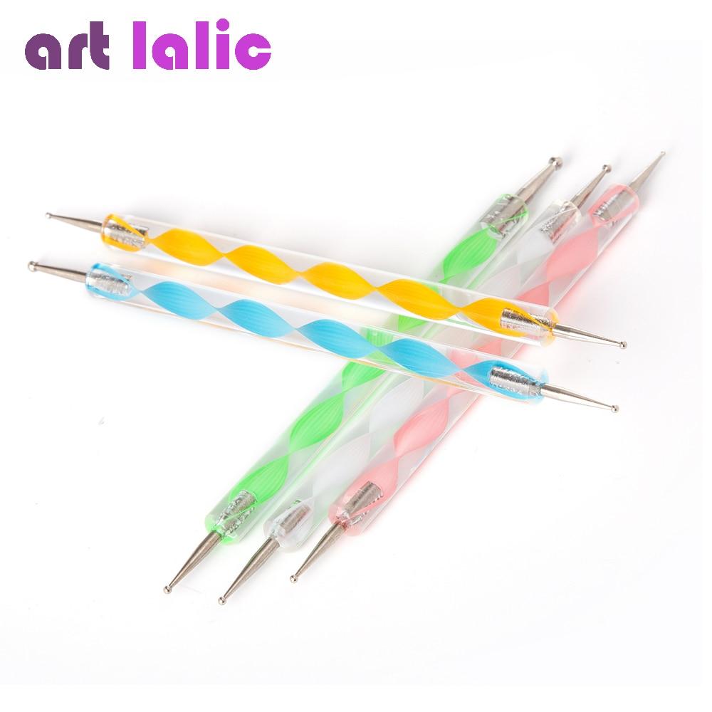 5 Pcs Professional 2 Way Nail Dotting Pen Marbleizing