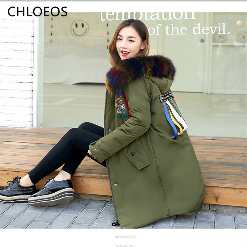 2017 new winter coat woman in the long hair black cotton padded collar green loose jacket tide female students