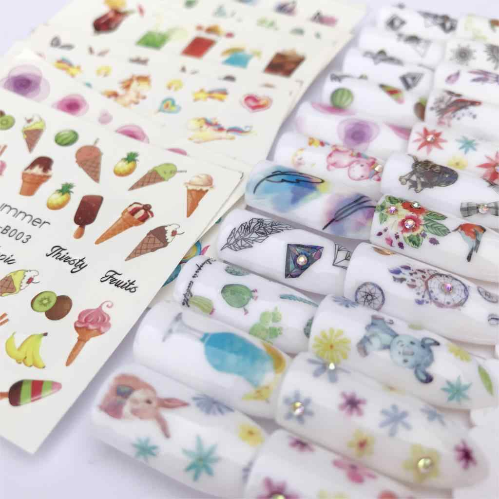 LCJ 30 Styles Summer Butterfly & Flower Summer Image Nail Decals Art Colorful Full Wraps for Nail Sticker Water Tips