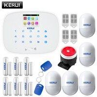 KERUI White Panel Home Security Alarm system with 4 Remote Control 5 PIR Motion Detectors 6 Door Window Sensors